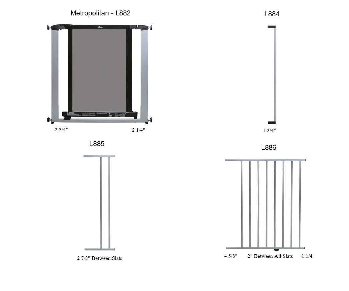 Metropolitan Pressure Mounted Pet Gate Plus 7 Silver W