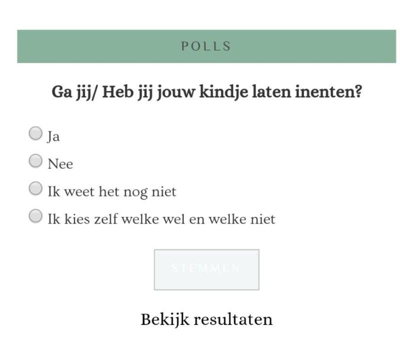 Uitslag Poll 'Inenten'