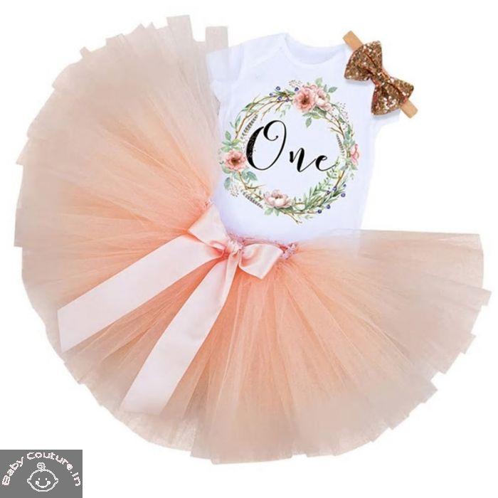 Peach Colored Elegant First Birthday Tutu Skirt Set