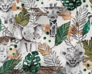 tissu coton safari savane lion éléphant girafe rhino animaux