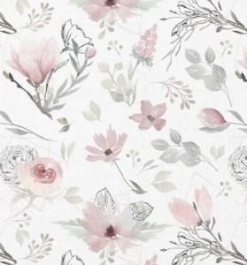 tissu coton magnolias pastels