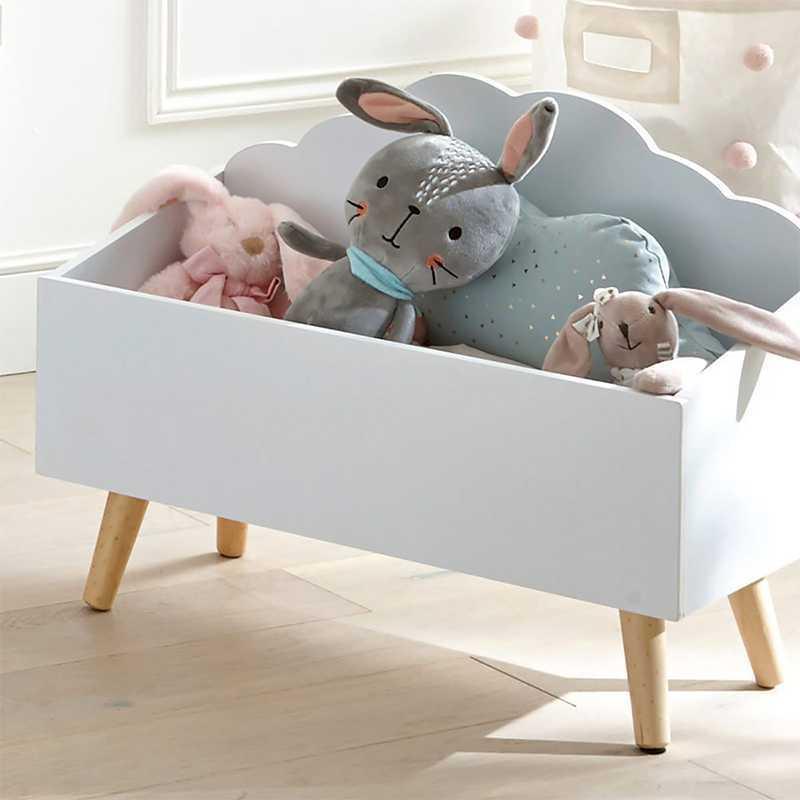 coffre a jouets en bois forme nuage blanc