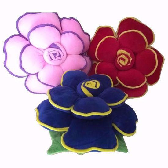 flower pillow set 3 red