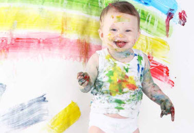 sensory toddler finger painting