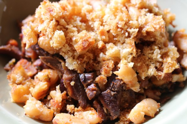 This dish of leftover cassoulet is less than glamorous but it gives you the idea.