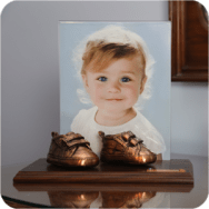 shoes mounted wth photo