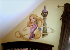 Disney character mural for the nursery