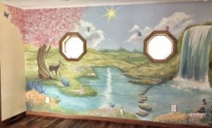 woodland themed mural for the nursery