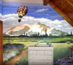 woodland themed mural for the nursery