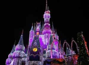 image of the Walt Disney World castle at night lit up with purple lights