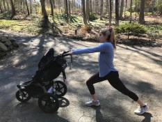 woman lunging with a jogging stroller
