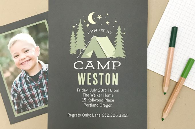 birthday party invite--Camp Weston