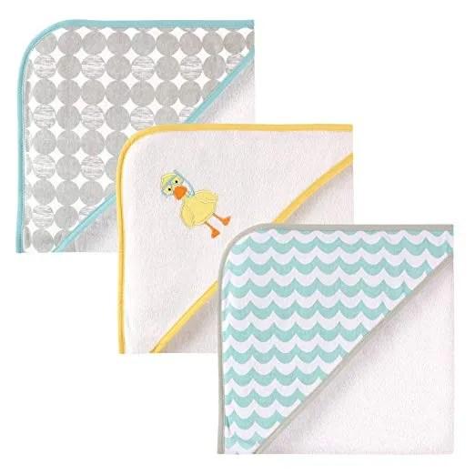 Luvable Friends 3 Piece Hooded Towels, Scuba Duck 30″X30″
