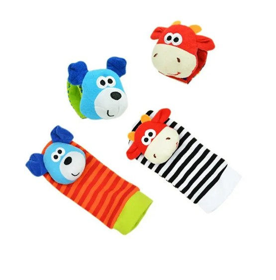 Soft Foot Sock Rattles Toys (Dog&Cow) 4pcs Set