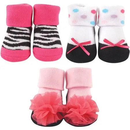 Luvable Friends Baby Girls' 3 Pack Little Shoe Socks Gift Set Pink