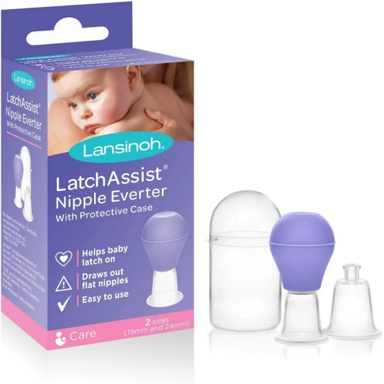 Lansinoh LatchAssist Inverted Nipple Corrector Nipple Everter, 2 Sizes