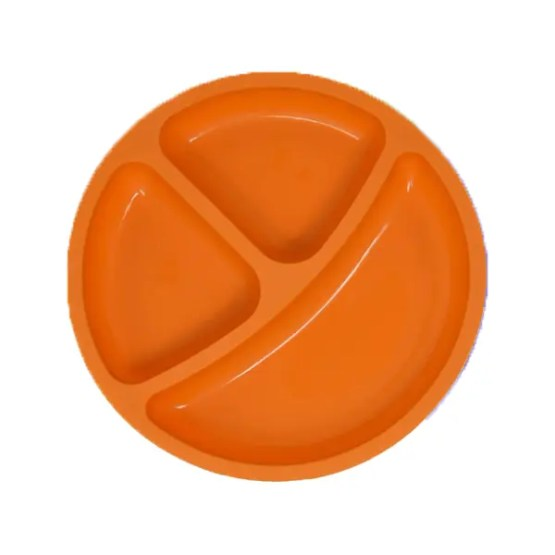 Silicone Divided Baby Plates   Non-Toxic, Orange