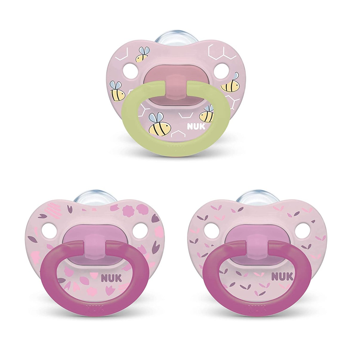 NUK Orthodontic Pacifier Value Pack, Girl, 0-6 Months, 3-Pack Pink Bees