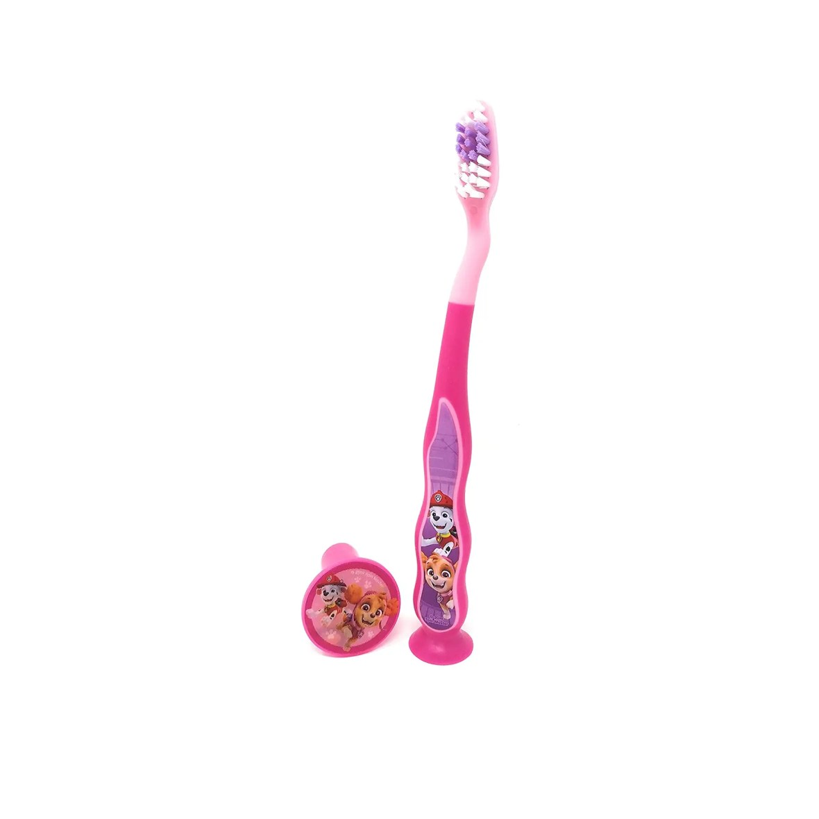 PAW Patrol Toothbrush for Kids 3+ yrs. Soft Suction Cup Pink