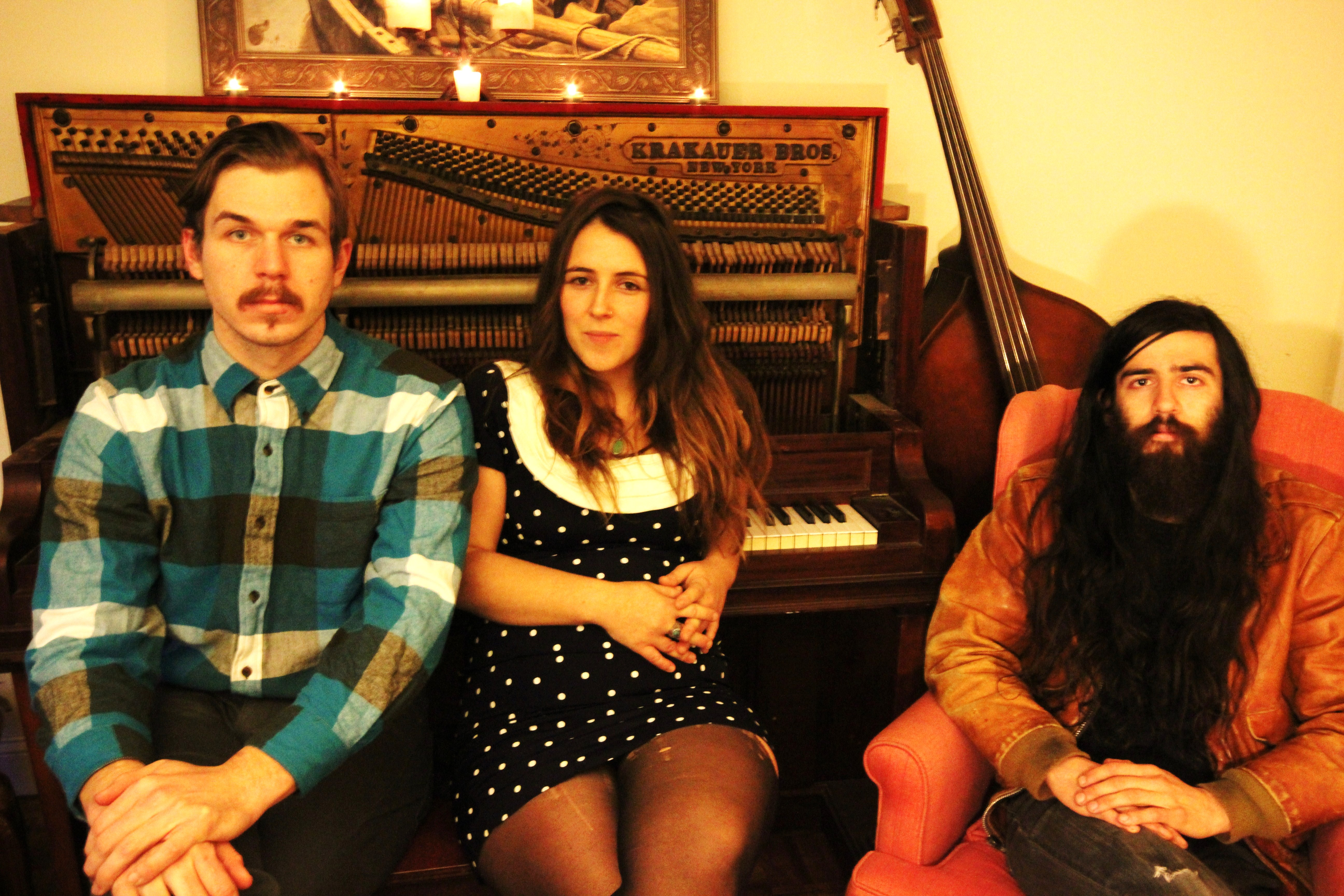Lily and the Tigers press photo baby robot media american songwriter Casey Hood (Guitarist, Vocals) Adam Mincey (Upright Bass) Mikhail Ally (Bass Clarinet) Jared Pepper (Resophonic guitar)