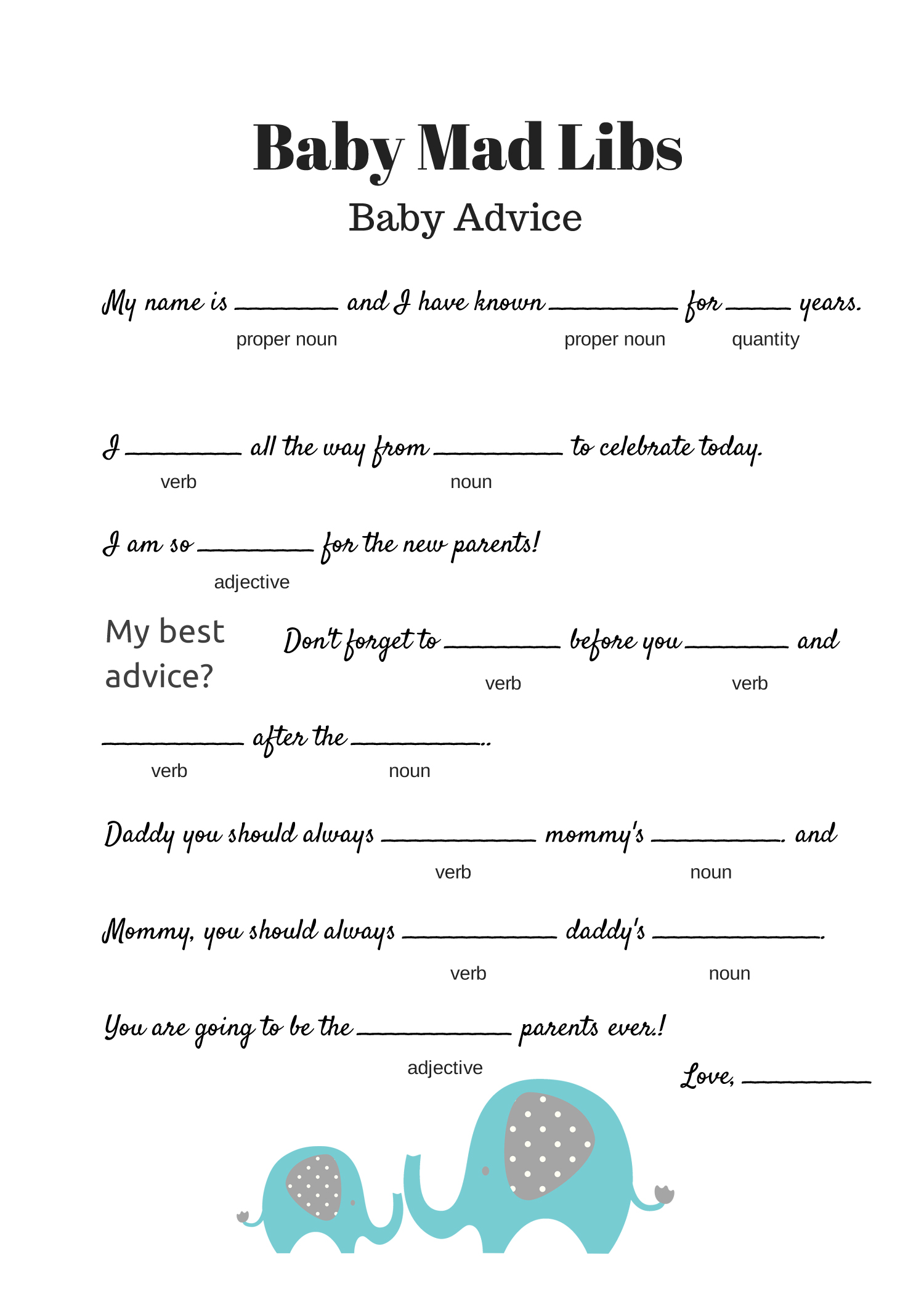Blue Elephant Free Baby Shower Mad Libs Game Baby Advice Game
