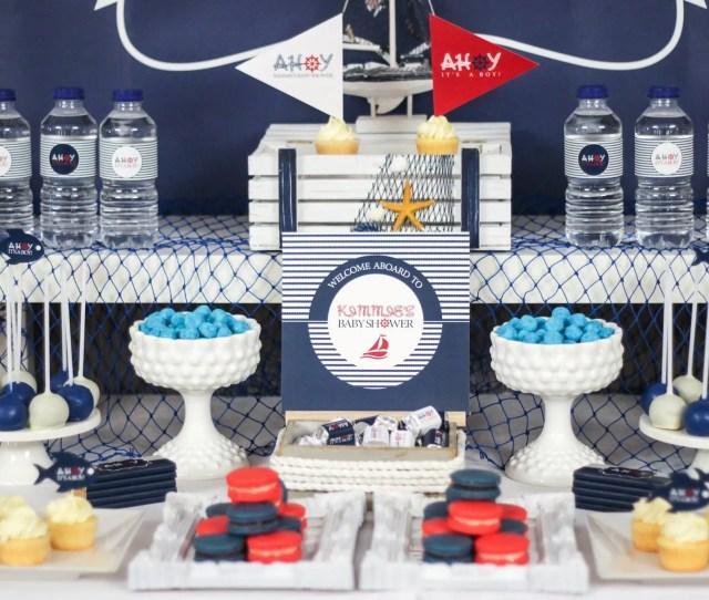 Ahoy Nautical Baby Shower Decoration Ideas