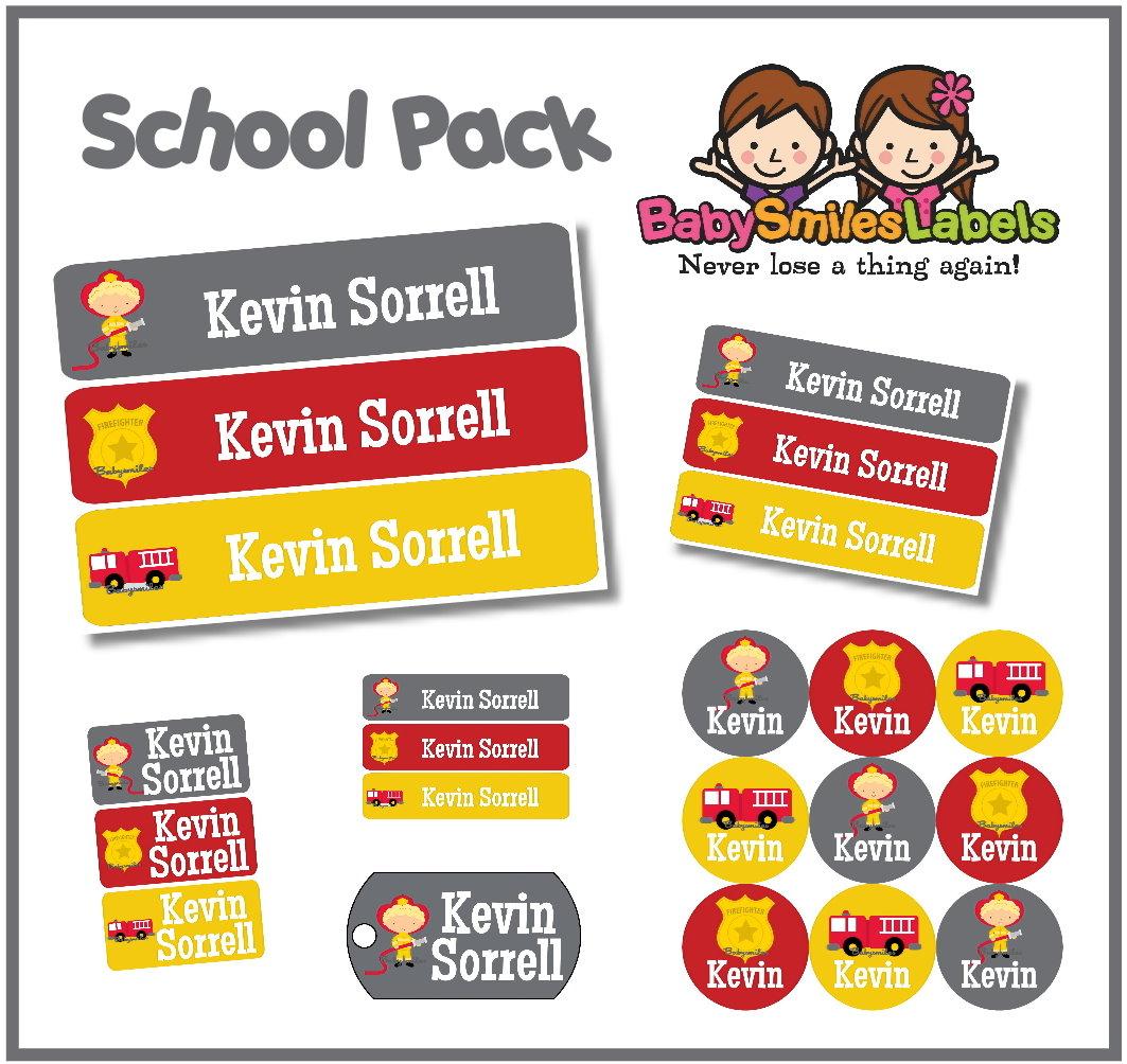 Firefighter Hero School Labels Pack