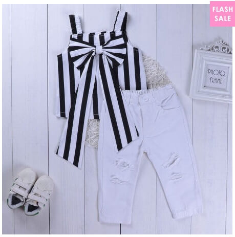 Stripe Bowknot Embellished Ripped Pants Set