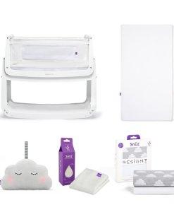 SnuzPod4 Bedside Crib Bundle White