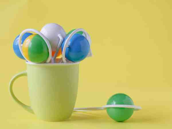 Baby toys, toddler toys or infant toys is in a ceramic mug
