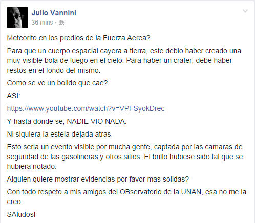 Julio Vannini - Meteorito en los predios de la Fuerza Aerea