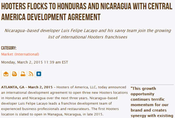 Hooters Flocks to Honduras and Nicaragua with Central America Development Agreement _ Hooters Newsroom