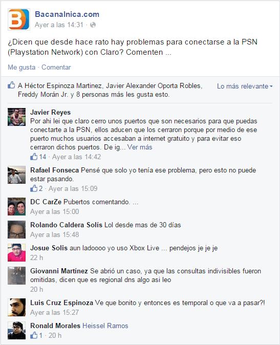 psn claro facebook