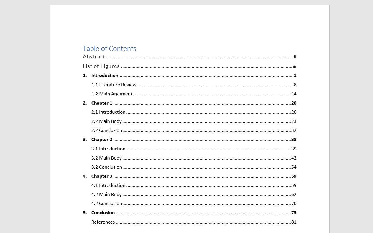 Example For Table Of Contents