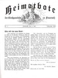 Das Titelblatt des Fraureuther Heimatboten