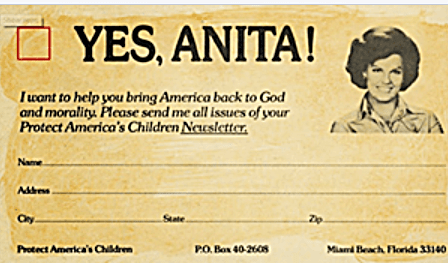 Anita Bryant Hate Save Our Children Card