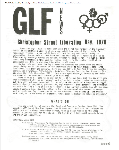 GLF Flyer First Gay pride