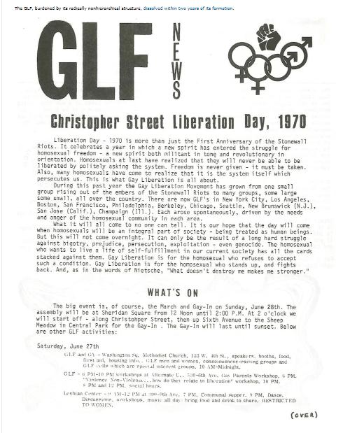 GLF Flyer First Gay pride