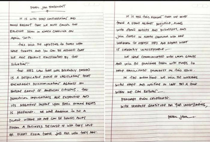Pearl Jam Statement Full