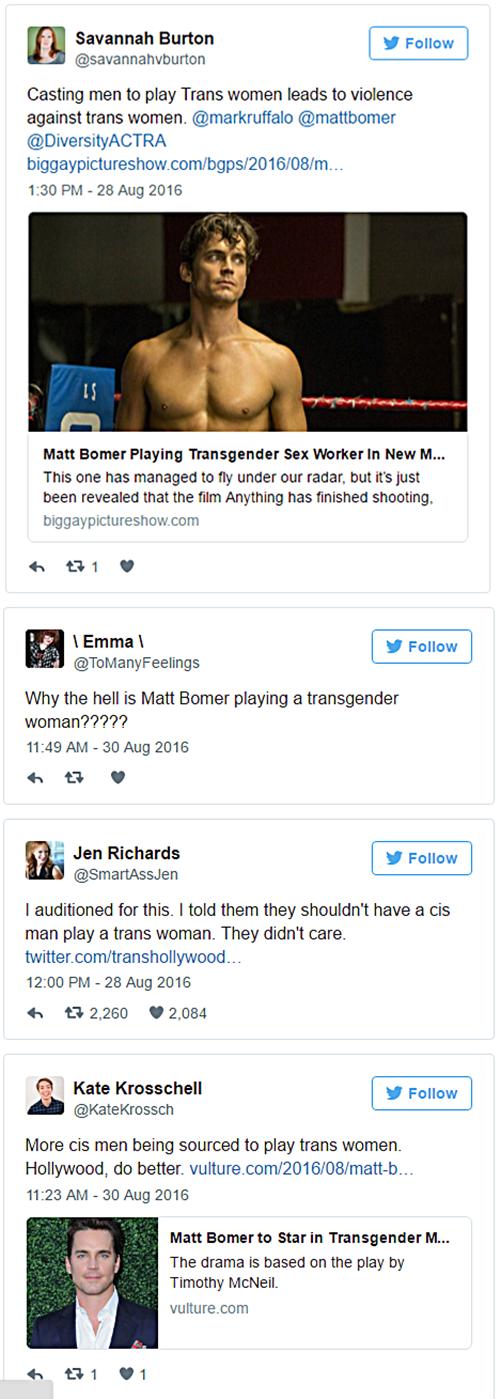 Matt Bomer to play Trans Character