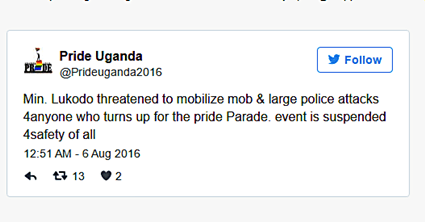 Uganda PRIDE Cancelled After Government Threatens Violence Against Participants