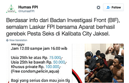 "Radical Islamic Group FPI Raids Jakarta Gay 'Sex Party' Seaming ""Allahu Akbar"", 13 Arrested."
