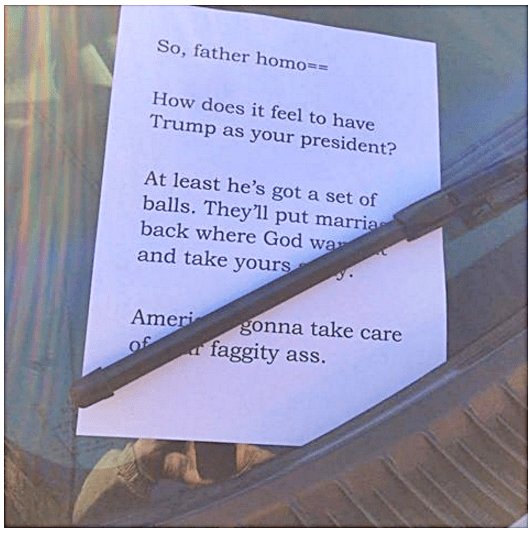 Left on a Priest's car in Jersey City, NJ