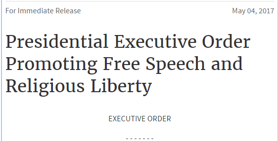 READ: Presidential Executive Order Promoting Free Speech and Religious Liberty - FULL TEXT