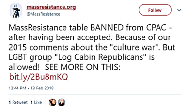 LGBT Hate Group Mass-Resistance BANNED from CPAC (Conservative Political Action Conference)
