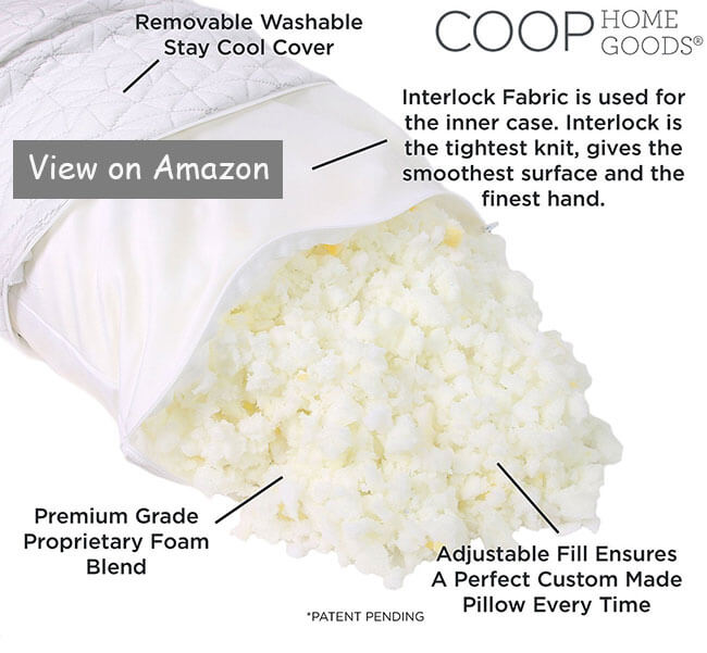 the shredded memory foam pillow of coop home goods is a lot better than both down pillows and normal memory foam pillows