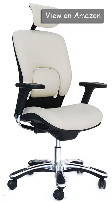 GM Seating Ergolux Genuine Leather Executive Hi Swivel Chair Chrome Base with Headrest