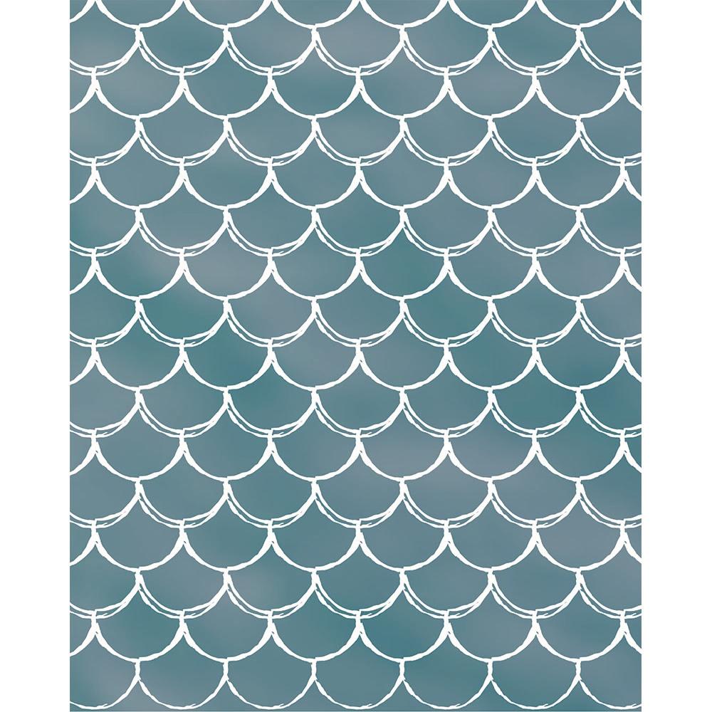 Aqua Mermaid Scales Printed Backdrop Backdrop Express