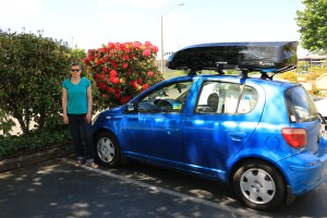 Road Trip Day 1 - 12-year old little car, new cargo box, and me (photo by MAC).