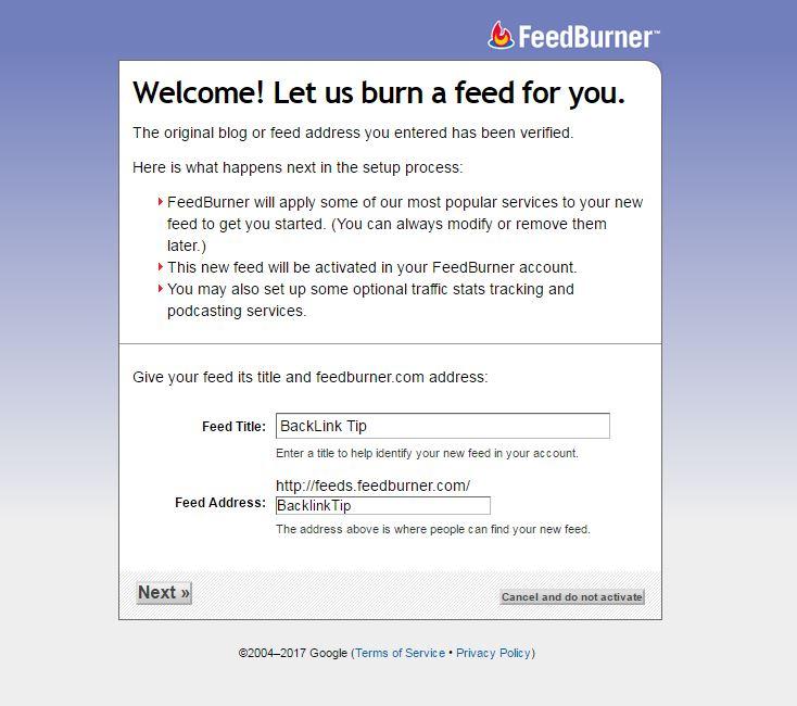 RSS Feed Using Google Feedburner